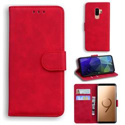 Retro Classic Skin Feel Leather Wallet Phone Case for Samsung Galaxy S9 Plus(S9+) - Red