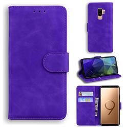 Retro Classic Skin Feel Leather Wallet Phone Case for Samsung Galaxy S9 Plus(S9+) - Purple