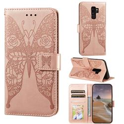 Intricate Embossing Rose Flower Butterfly Leather Wallet Case for Samsung Galaxy S9 Plus(S9+) - Rose Gold