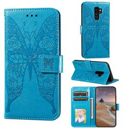 Intricate Embossing Rose Flower Butterfly Leather Wallet Case for Samsung Galaxy S9 Plus(S9+) - Blue