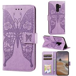 Intricate Embossing Rose Flower Butterfly Leather Wallet Case for Samsung Galaxy S9 Plus(S9+) - Purple