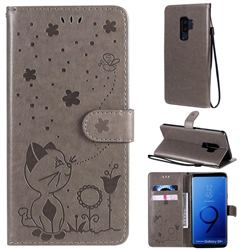 Embossing Bee and Cat Leather Wallet Case for Samsung Galaxy S9 Plus(S9+) - Gray