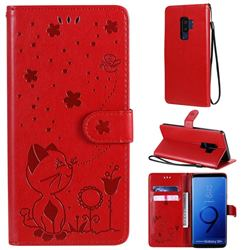 Embossing Bee and Cat Leather Wallet Case for Samsung Galaxy S9 Plus(S9+) - Red