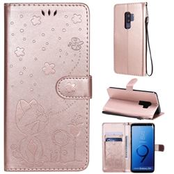 Embossing Bee and Cat Leather Wallet Case for Samsung Galaxy S9 Plus(S9+) - Rose Gold