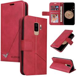 GQ.UTROBE Right Angle Silver Pendant Leather Wallet Phone Case for Samsung Galaxy S9 Plus(S9+) - Red