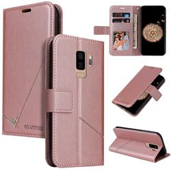 GQ.UTROBE Right Angle Silver Pendant Leather Wallet Phone Case for Samsung Galaxy S9 Plus(S9+) - Rose Gold