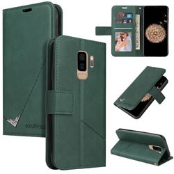 GQ.UTROBE Right Angle Silver Pendant Leather Wallet Phone Case for Samsung Galaxy S9 Plus(S9+) - Green