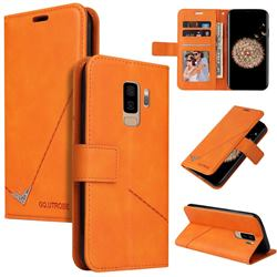 GQ.UTROBE Right Angle Silver Pendant Leather Wallet Phone Case for Samsung Galaxy S9 Plus(S9+) - Orange