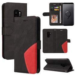 Luxury Two-color Stitching Leather Wallet Case Cover for Samsung Galaxy S9 Plus(S9+) - Black