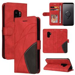 Luxury Two-color Stitching Leather Wallet Case Cover for Samsung Galaxy S9 Plus(S9+) - Red