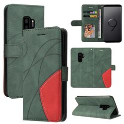Luxury Two-color Stitching Leather Wallet Case Cover for Samsung Galaxy S9 Plus(S9+) - Green