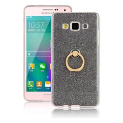 Luxury Soft TPU Glitter Back Ring Cover with 360 Rotate Finger Holder Buckle for Samsung Galaxy A3 2015 A300 - Black