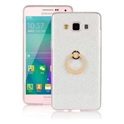 Luxury Soft TPU Glitter Back Ring Cover with 360 Rotate Finger Holder Buckle for Samsung Galaxy A3 2015 A300 - White