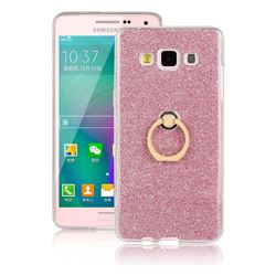 Luxury Soft TPU Glitter Back Ring Cover with 360 Rotate Finger Holder Buckle for Samsung Galaxy A3 2015 A300 - Pink