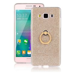 Luxury Soft TPU Glitter Back Ring Cover with 360 Rotate Finger Holder Buckle for Samsung Galaxy A3 2015 A300 - Golden