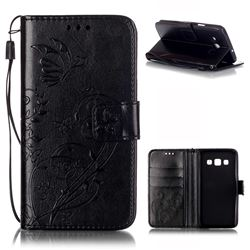 Embossing Butterfly Flower Leather Wallet Case for Samsung Galaxy A3 A300 A300F - Black