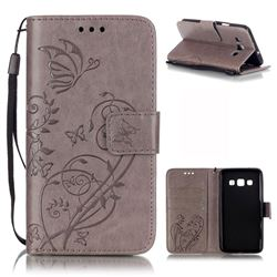 Embossing Butterfly Flower Leather Wallet Case for Samsung Galaxy A3 A300 A300F - Grey