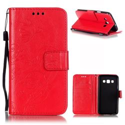 Embossing Butterfly Flower Leather Wallet Case for Samsung Galaxy A3 A300 A300F - Red