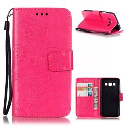 Embossing Butterfly Flower Leather Wallet Case for Samsung Galaxy A3 A300 A300F - Rose