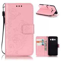 Embossing Butterfly Flower Leather Wallet Case for Samsung Galaxy A3 A300 A300F - Pink