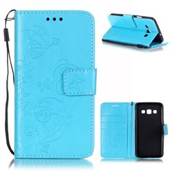 Embossing Butterfly Flower Leather Wallet Case for Samsung Galaxy A3 A300 A300F - Blue