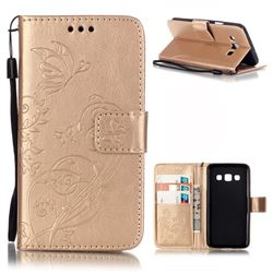 Embossing Butterfly Flower Leather Wallet Case for Samsung Galaxy A3 A300 A300F - Champagne