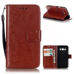 Embossing Butterfly Flower Leather Wallet Case for Samsung Galaxy A3 A300 A300F - Brown