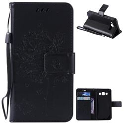 Embossing Butterfly Tree Leather Wallet Case for Samsung Galaxy A3 A300 - Black