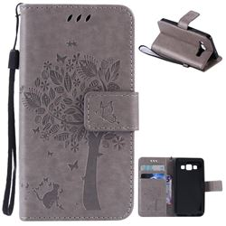 Embossing Butterfly Tree Leather Wallet Case for Samsung Galaxy A3 A300 - Grey