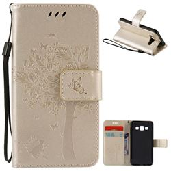Embossing Butterfly Tree Leather Wallet Case for Samsung Galaxy A3 A300 - Champagne