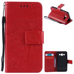 Embossing Butterfly Tree Leather Wallet Case for Samsung Galaxy A3 A300 - Red