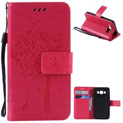 Embossing Butterfly Tree Leather Wallet Case for Samsung Galaxy A3 A300 - Rose