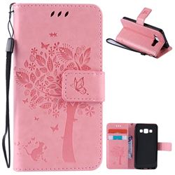 Embossing Butterfly Tree Leather Wallet Case for Samsung Galaxy A3 A300 - Pink