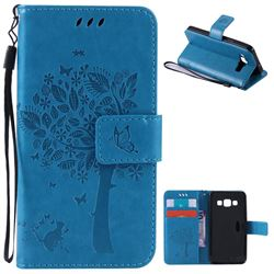 Embossing Butterfly Tree Leather Wallet Case for Samsung Galaxy A3 A300 - Blue