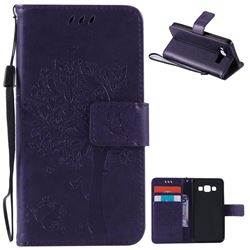 Embossing Butterfly Tree Leather Wallet Case for Samsung Galaxy A3 A300 - Purple