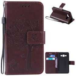 Embossing Butterfly Tree Leather Wallet Case for Samsung Galaxy A3 A300 - Coffee