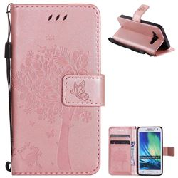 Embossing Butterfly Tree Leather Wallet Case for Samsung Galaxy A3 2015 A300 - Rose Pink