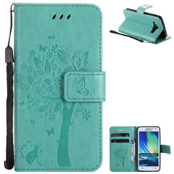 Embossing Butterfly Tree Leather Wallet Case for Samsung Galaxy A3 2015 A300 - Cyan