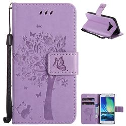 Embossing Butterfly Tree Leather Wallet Case for Samsung Galaxy A3 2015 A300 - Violet