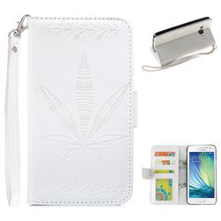 Intricate Embossing Maple Leather Wallet Case for Samsung Galaxy A3 2015 A300 - White