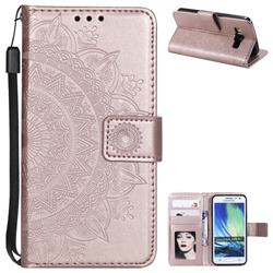 Intricate Embossing Datura Leather Wallet Case for Samsung Galaxy A3 2015 A300 - Rose Gold