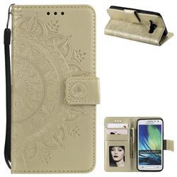Intricate Embossing Datura Leather Wallet Case for Samsung Galaxy A3 2015 A300 - Golden