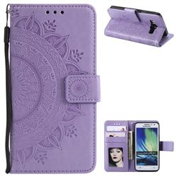 Intricate Embossing Datura Leather Wallet Case for Samsung Galaxy A3 2015 A300 - Purple