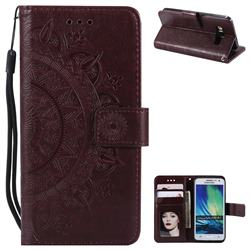Intricate Embossing Datura Leather Wallet Case for Samsung Galaxy A3 2015 A300 - Brown