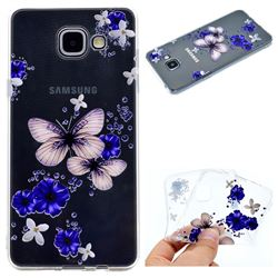 Blue Butterfly Flowers Super Clear Soft TPU Back Cover for Samsung Galaxy A3 2016 A310