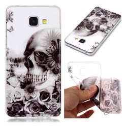Black Flower Skull Super Clear Soft TPU Back Cover for Samsung Galaxy A3 2016 A310