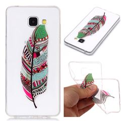 Green Feathers Super Clear Soft TPU Back Cover for Samsung Galaxy A3 2016 A310