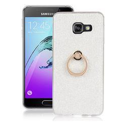 Luxury Soft TPU Glitter Back Ring Cover with 360 Rotate Finger Holder Buckle for Samsung Galaxy A3 2016 A310 - White