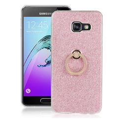 Luxury Soft TPU Glitter Back Ring Cover with 360 Rotate Finger Holder Buckle for Samsung Galaxy A3 2016 A310 - Pink
