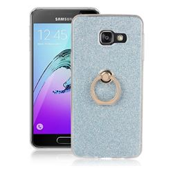 Luxury Soft TPU Glitter Back Ring Cover with 360 Rotate Finger Holder Buckle for Samsung Galaxy A3 2016 A310 - Blue
